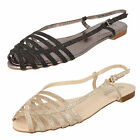 SALE SHOES LADIES SAVANNAH GLITTER FLAT BUCKLE SUMMER SANDALS IN 2 COLOURS F0881