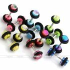 12x Mix 6 Colors Acrylic Barbell Bar Fake Cheater Plug Illusion Earring Piercing