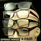 4 PAIR SPRING HINGE READING GLASSES LOT PACK CLEAR LENS POWER STRENGTH