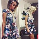 New Women Sexy V Neck Floral Imitation Pearl Party Cocktail Mini Dress Gayly