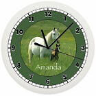 HORSE & COLT WALL CLOCK PERSONALIZED GREEN WHITE PONY GIRLS BEDROOM GIFT