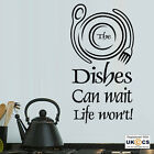 Dishes Can Wait Kitchen Wall Art Stickers Decals Vinyl Decor Room Mural Quote