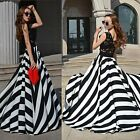 New Sexy Women's Sleeveless Stripe Lace Party Long Dress Skirt AU 8-12