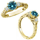 0.5 Carat Blue Diamond Fancy Solitaire Promise Wedding Ring 14K Yellow Gold