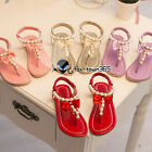 Summer Baby Child Kids Girls Pearl Diamond Bow Knot Flip-flops Shoes Sandals