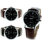 Mens Womens Ladies Leather Quartz Analog Dress Bracelet Wrist Watch Gayly