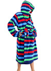 Boys Coral Fleece Hooded Dressing Gown Robe Blue Red Green Stripe 0 1 23 4 5 6 7
