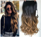dark blonde hair ombre - Clip in Dip dye Ombre Hair Extensions Synthetic Straight Curly Wavy brown blonde