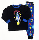 Boys Winter Cotton 2pc Pyjamas Pjs Black Blue Space Cadet Spaceship sz 3 4 5 6 7