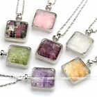 Natural Gemstone Crystal Lucky Wish Box Square Beads Chip Pendant Chain Necklace