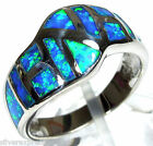 Amazing Blue Fire Opal Inlay Genuine 925 Sterling Silver Ring size 6,7,8,9