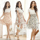 Chic Women Chiffon Dress Summer Floral Elastic Short Sleeve Mini Dress 3 Colors
