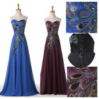 STOCK Applique Peacock Black Long Prom evening party Gown/Evening Dress ALL Size