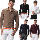 Discount Business Mens Stylish Slim Formal Casual Dress Shirt Long Sleeve Tops