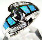 Rainbow Topaz and Blue Fire Opal Inlay 925 Sterling Silver Ring size 6 or 8