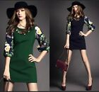 2105 style printing sleeve European fashion puff sleeve Round collar dress