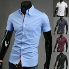 SHORT SLEEVE COLLECTION MENS SLIM FIT SHIRTS FASHION DRESS SHIRT STYLIGH TOPS+XL