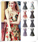 Vintage Women's Sleeveless Chiffon Floral Sunderss Rockabilly Mini Dress S-XXL