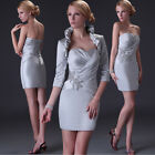 FREE Bolero Mother of the Bride Groom Outfit Short Wedding Guest PROM Gown Dress