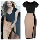 Women Sexy Low-cut Side Slit Patchwork Bodycon Office Club Cocktail Party Dress