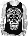 TATTOO,GOTHIC,SUGAR SKULL CROSS DAY OF THE DEAD  MENS VEST TOP