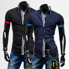 New Mens Summer Shirt Short Sleeve Cotton Collared Casual Tops T-Shirts XS S M L