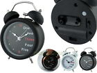 Twin Bell Metal 9cm Analog Alarm Clock with Light Mix Word Number Markings