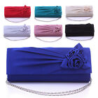 Womens Rosette Wedding Bridal Clutch Handbag Cocktail Chain Evening Dress Bag