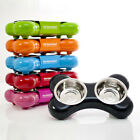 NEW Hing Bone Double Food & Water Bowl for Dogs with Stainless Steel Bowls