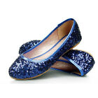 US5-9.5 Sequin Shining Round Toe Slip-on loafers Womens Ballets Flats Shoes