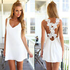 NEW Summer Women's White Backless Lace Embroidery Mini Dress Sexy Beach Sundress