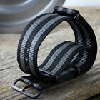 G10 NATO ZULUDIVER Striped Nylon Military Watch Strap 18 20 22mm PVD Black