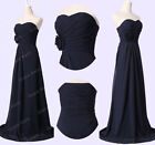 London fast Long Chiffon Cocktail Gown Formal Bridesmaid Evening Prom Ball Dress