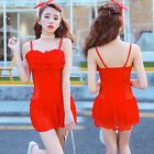 One Piece Lace Splice Flounce Skirted Swimsuit Swimwear Tankini Top Swim Dress