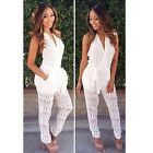 Sexy Women White Backless Halter V-Neck Evening Party Bodycon Romper Jumpsuit LJ