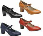 Womens Hush Puppies Mary Jane Leather Smart Heeled Shoes UK Sizes 3 to 8