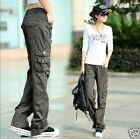 Loose Womens Military Army Fashion Cargo Pocket Pants Leisure Trousers Outdoor
