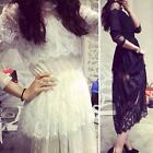 Sexy Women Long Sleeve White Lace BOHO MAXI Dress Party Cocktail Beach Prom