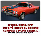 Qh-109-st 1970-72 Chevy El Camino - Hood Stripe Paint Stencil Kit