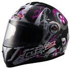 LS2 FF387 8 Ball Womens Pink Black Graphic Full Face Motorcycle Riding Helmet