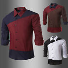 Luxury Men's Casual Formal Shirt Long Sleeve Slim Fit Business Dress Blouse tops