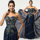 Mother of the bride/groom Peacock Long Party Prom Bridesmaid Dress Wedding Gowns
