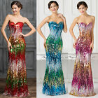 Sexy Sequins Mermaid Long Prom Dress plus size Wedding Formal Evening Party Gown