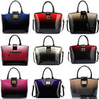 Large Women's Designer Celebrity Patent Tote Bag New Two Tone Fashion Handbags