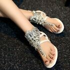 Sexy Bling Bling Rhinestone Womens Low Heel Leather Thong Flip Flop Lady Sandals