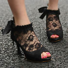 Peep Toe Womens High Heel Pumps Lace Bowknot Wedding Shoes Ankle Bootie Sandals