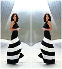Chic Women/Lady Sexy Striped Sleeveless Cocktail Backless Tunic Long Dresses LJ