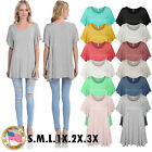 *CLEARANCE* Women's Solid Basic Loose Fit Tunic Top with Ruffle Sleeve SML