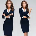 New Summer Women's Office Formal Party Pencil Dress V-neck Work Bodycon Dress OL