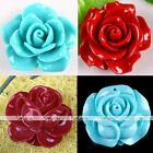 Man-Made Red Blue Coral Gemstone Carved Camellia Flower Focal Charm Pendant Bead